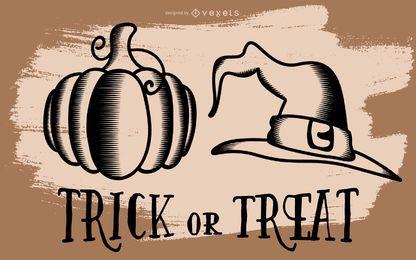 Abóbora de Halloween e ilustração de chapéu de bruxa