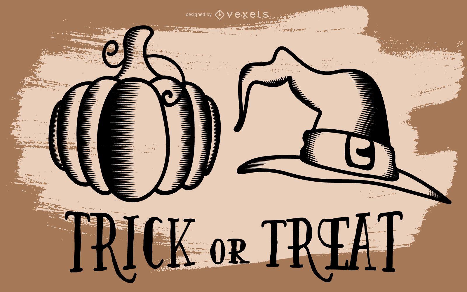 Ilustração de abóbora de Halloween e chapéu de bruxa