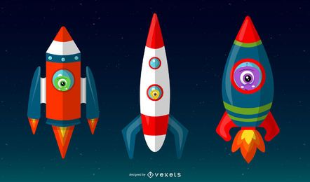 Happy Space Vector Pack Rockets and faces