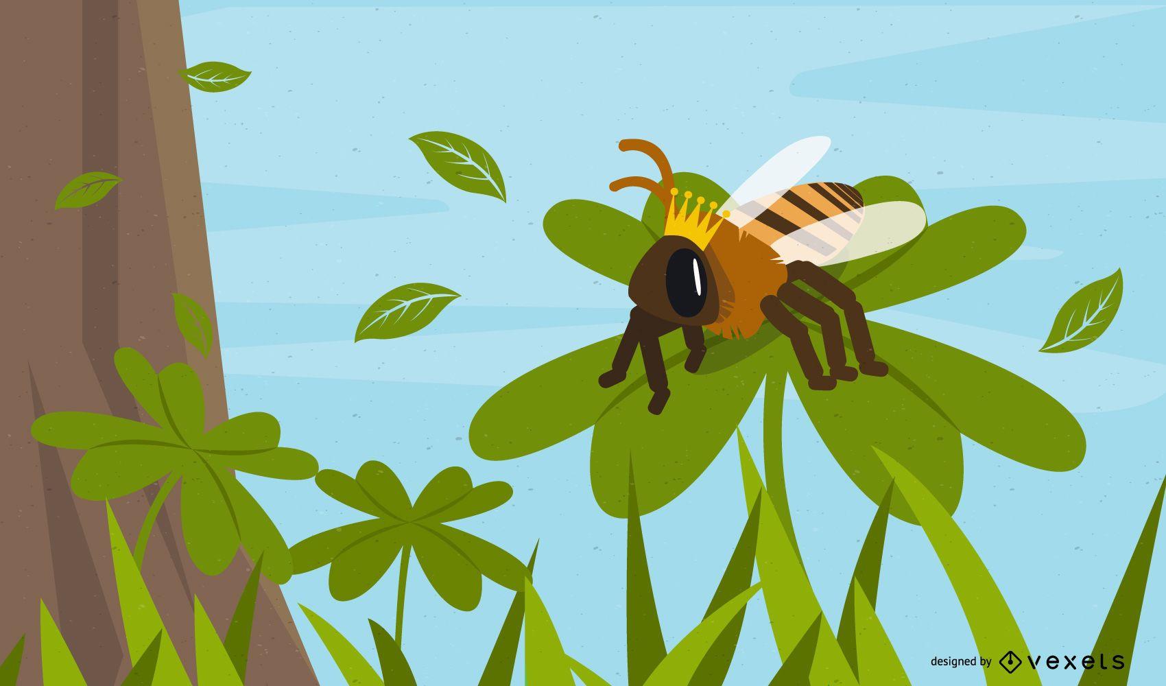 bee nature illustration design
