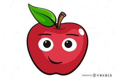 niedliche Apfelkarikaturillustration