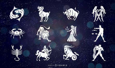 Conjunto de diseño de signos del zodiaco