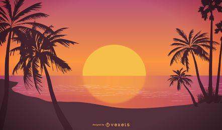 Diseño de ilustración de puesta de sol tropical