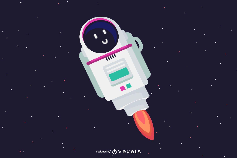 Ilustración linda del robot espacial