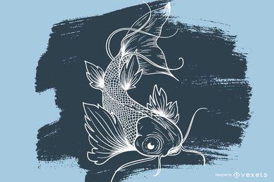 Tatuagem de desenho de peixe Koi