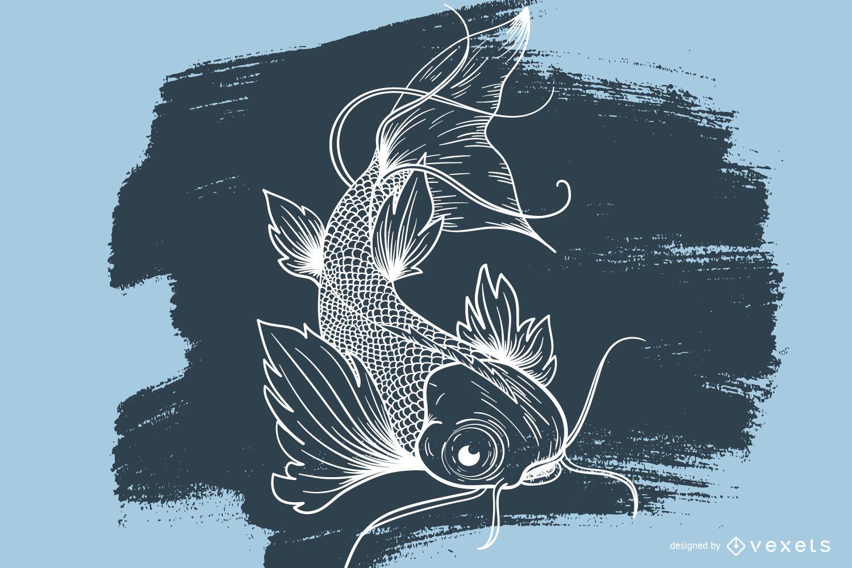 Koi fish drawing tattoo