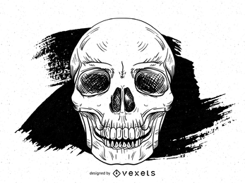 Crânio de mão desenhada Grunge Vector