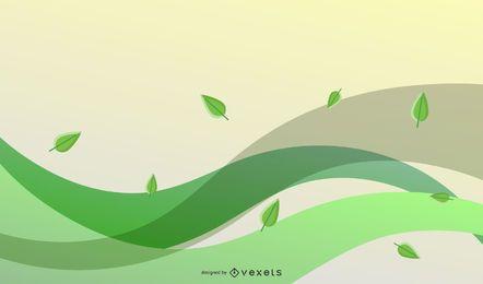 Vector Eco Hojas Y Ola Verde