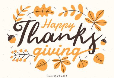 Ilustração de letras feliz dia de graças