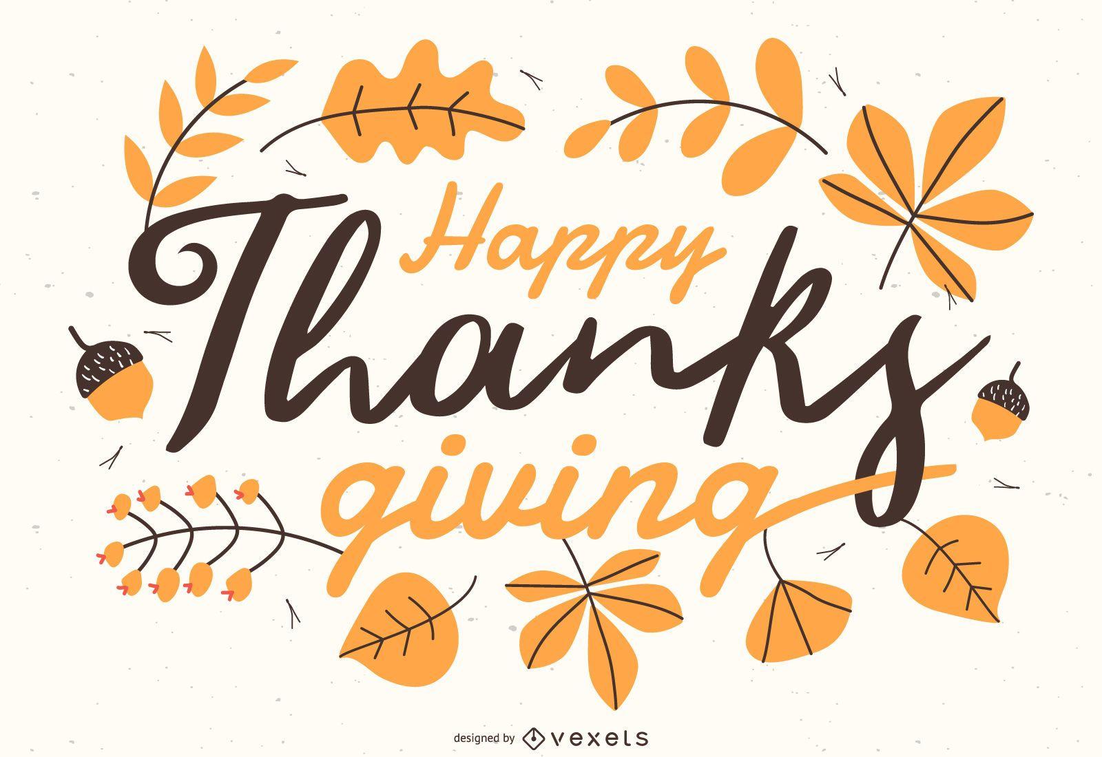 Happy Thanksgiving lettering Illustration
