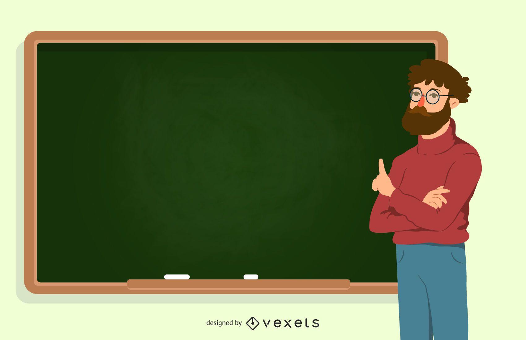 Profesor con ilustración de pizarra