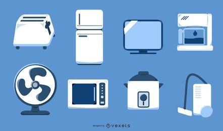 Conjunto de aparelhos domésticos branco