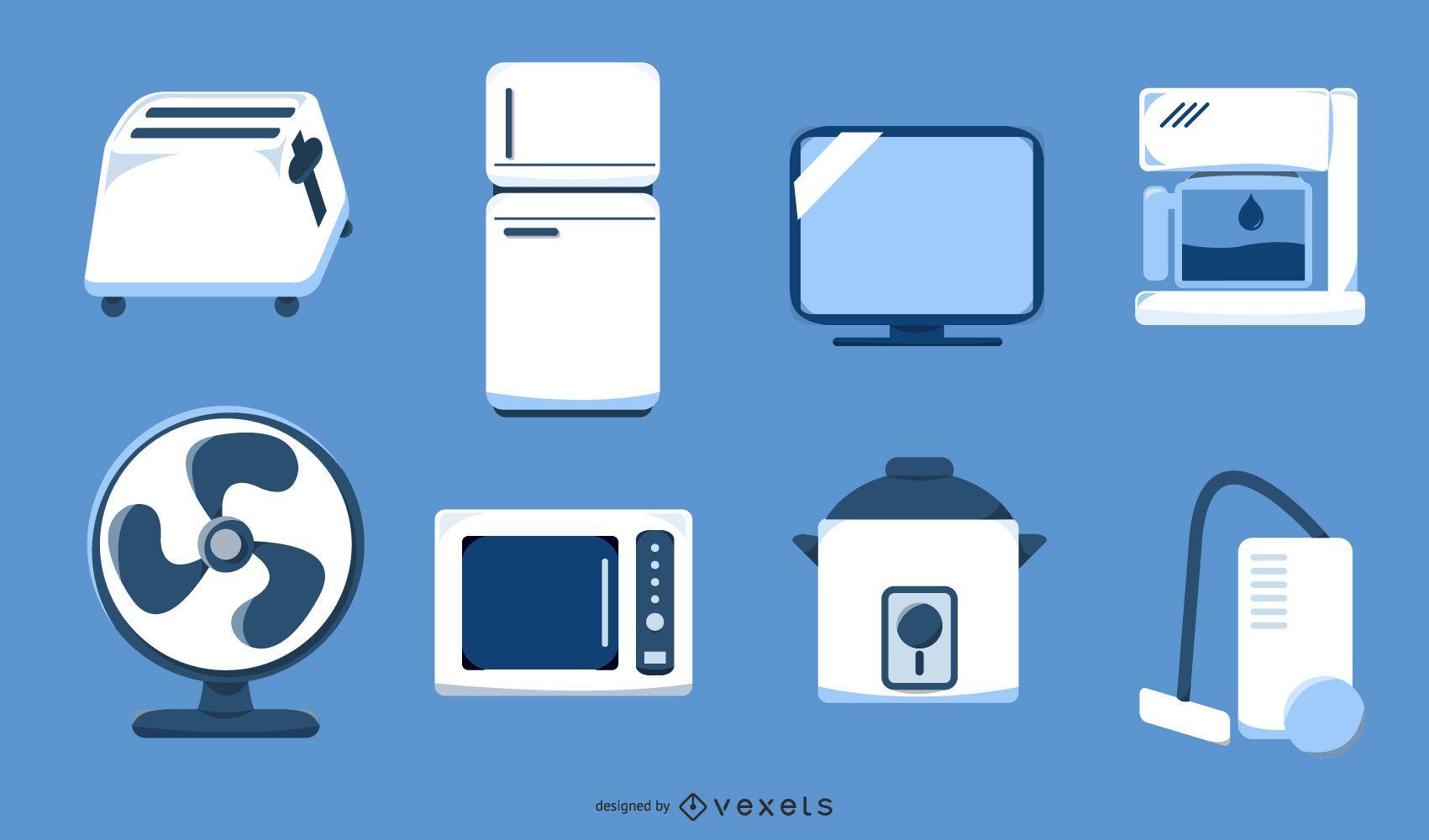 Household appliances illustration set