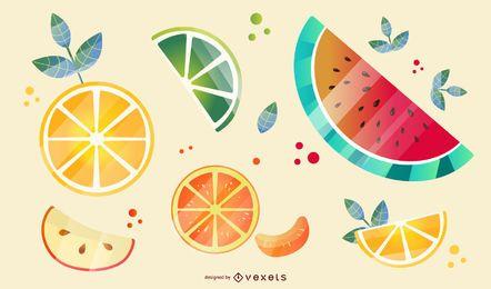 Shiny fruit slices illustration set