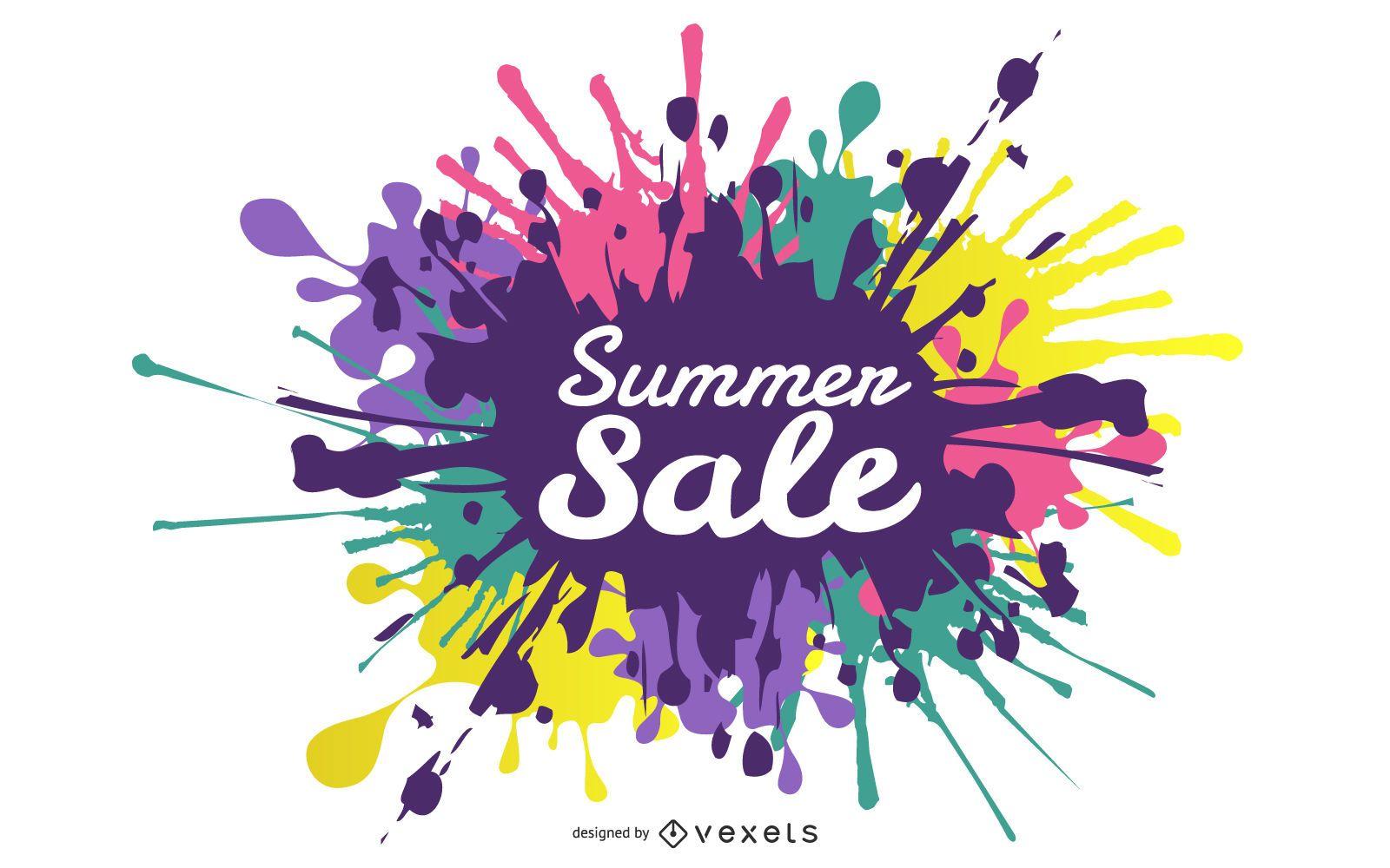Diseño de texto de salpicaduras de venta de verano