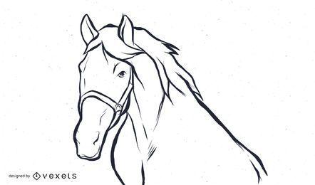 Vetor de cavalo preto e branco