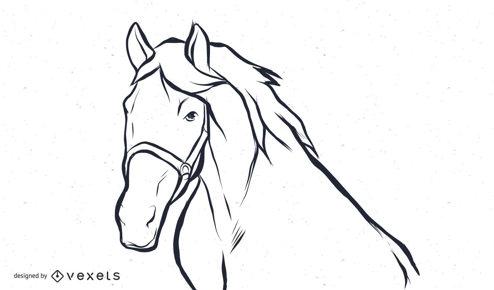 Schwarzweiss-Pferdevektor