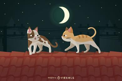 Gatos de vetor no telhado