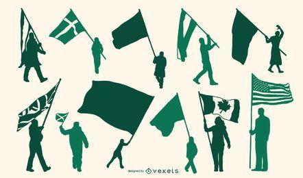 Conjunto de silueta de portador de bandera