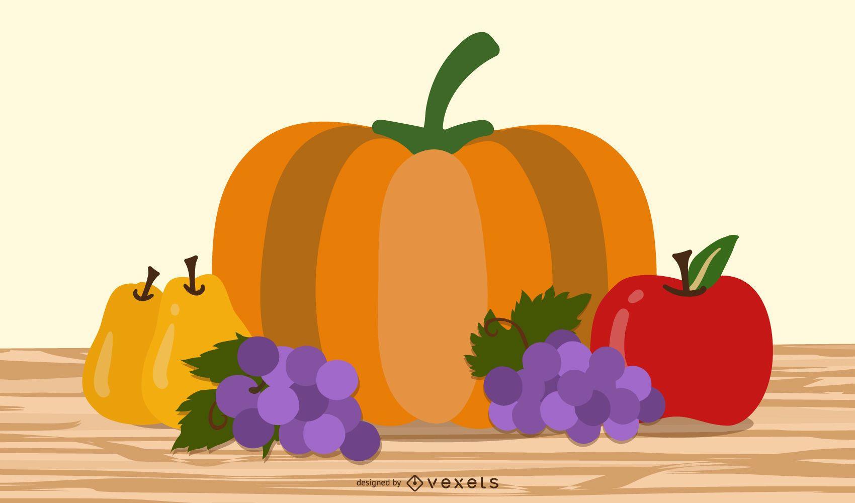 Fruits and vegetables illustration design