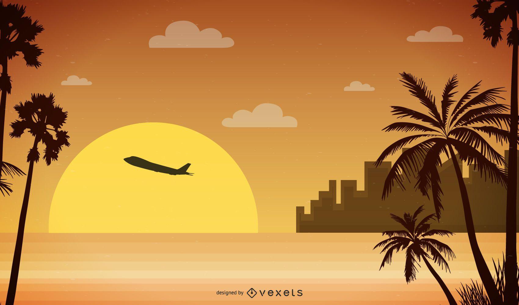 sunset landscape illustration design