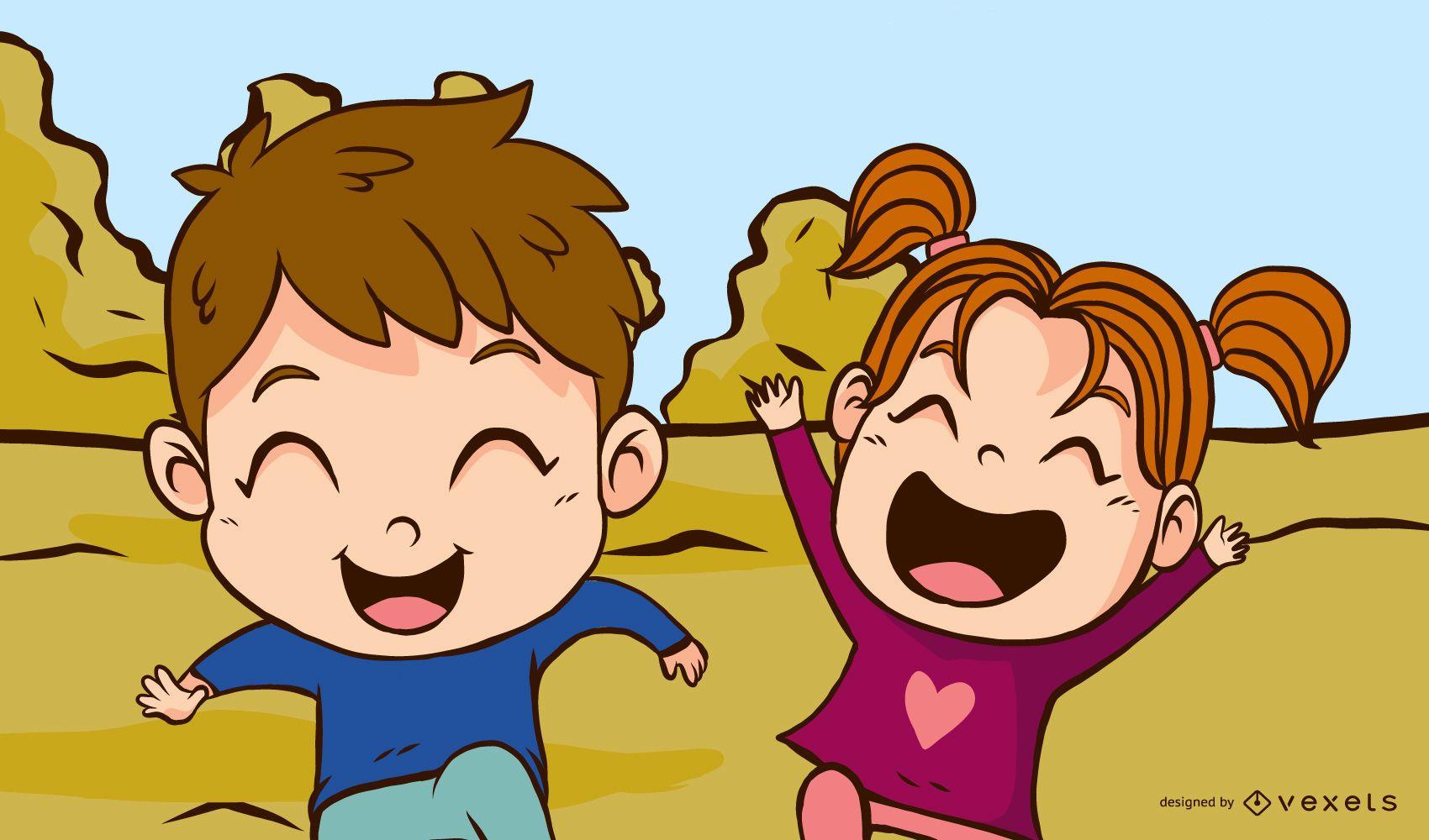 children playing park illustration