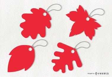 Leaf tags illustration set