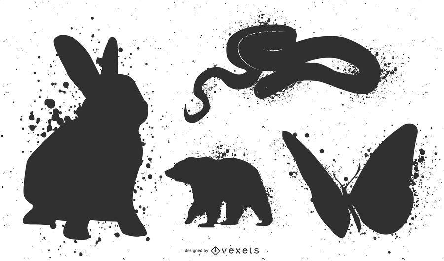 Ink animals silhouette set