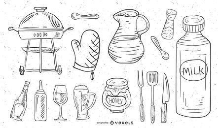 Vector de elementos de comida de cocina de borrador de línea dibujada a mano