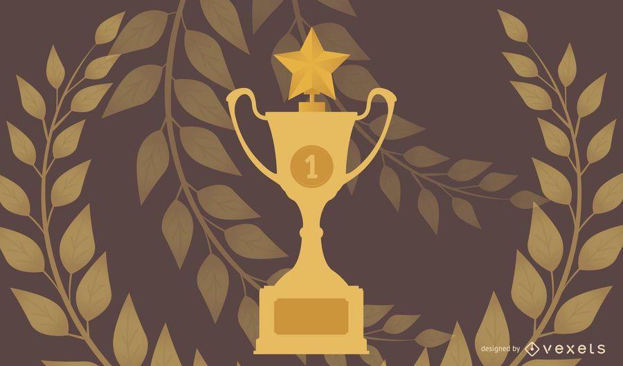 Vetor de troféu de ouro amarelo