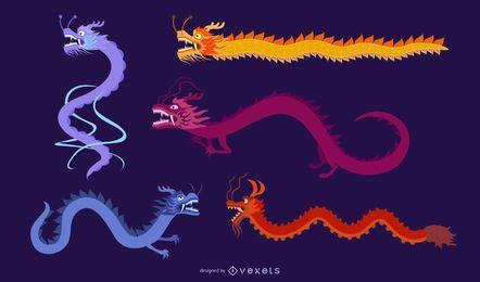 Vector dragão chinês clássico dos cinco