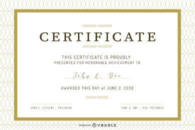 Seis certificados de diseño vectorial