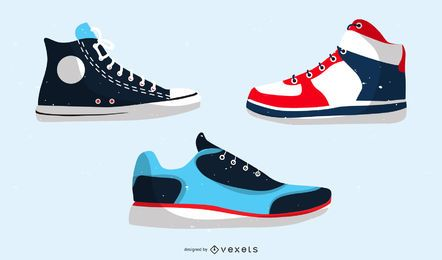 Sports Shoes And Canvas Shoes Vector