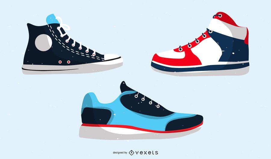 Calçados Esportivos E Sapatos De Lona Vector