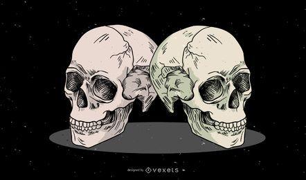 Skulls illustration design