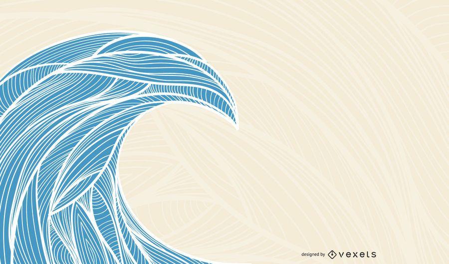 Ilustração vetorial de onda de verão