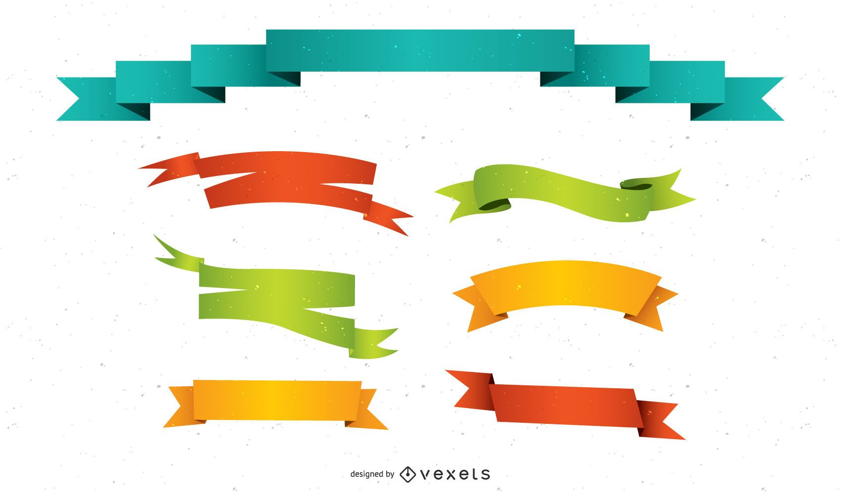 Colorful ribbons illustration set