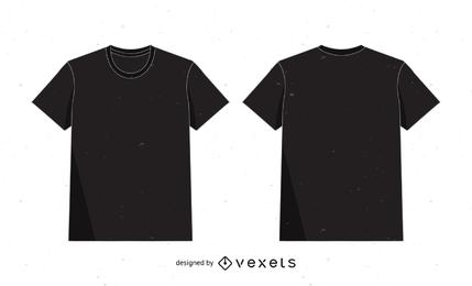 Plantilla de maqueta de camiseta en negro sobre blanco
