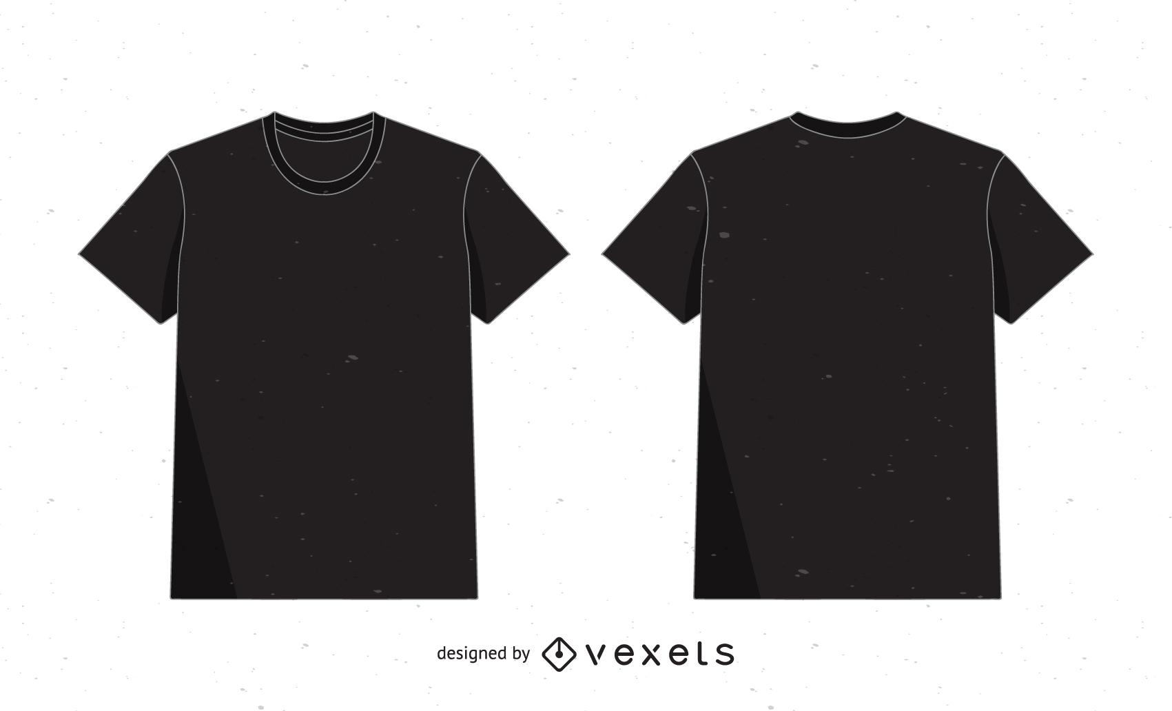 Vector de camiseta en negro sobre blanco