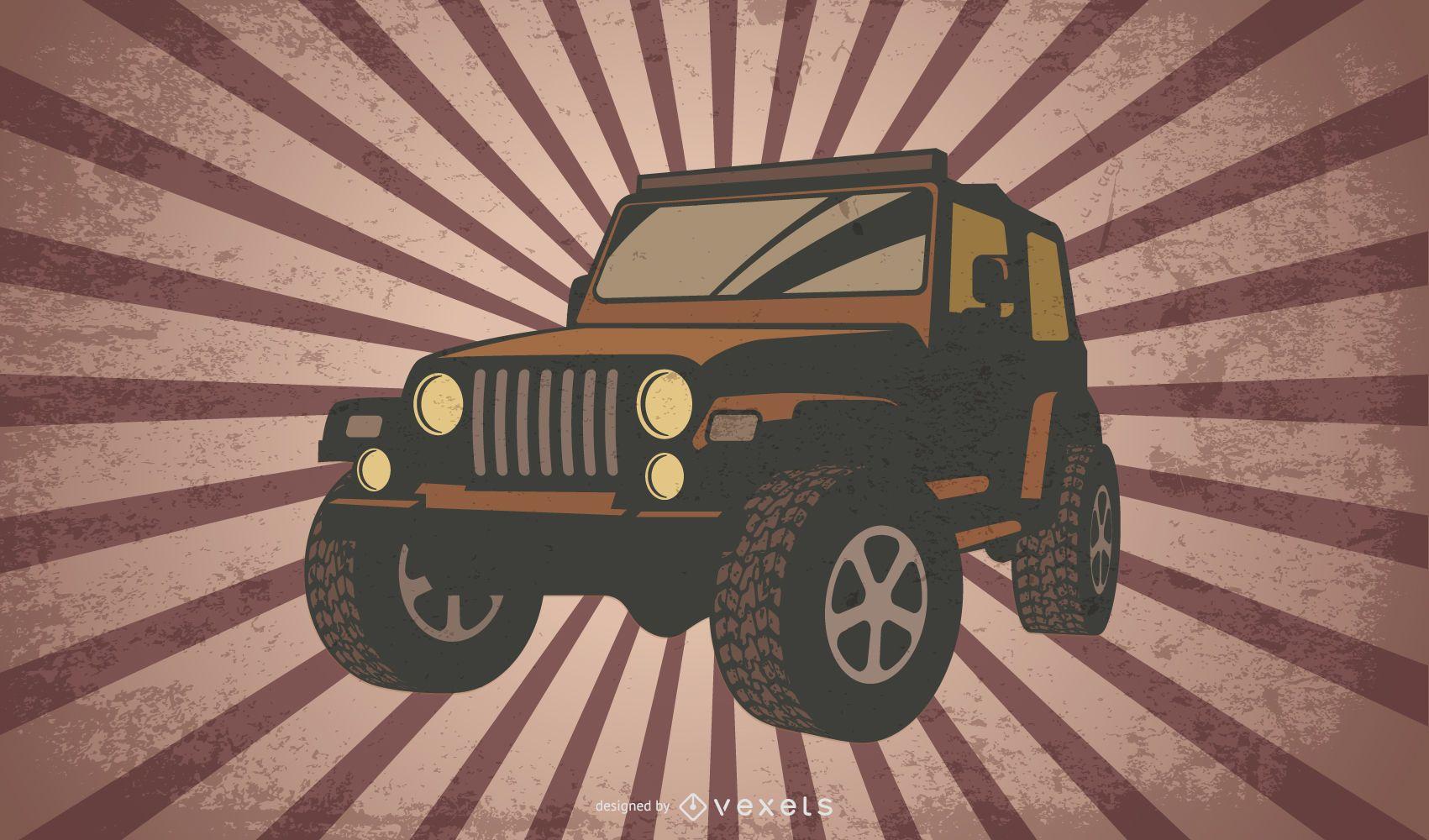 Diseño de ilustración de jeep retro