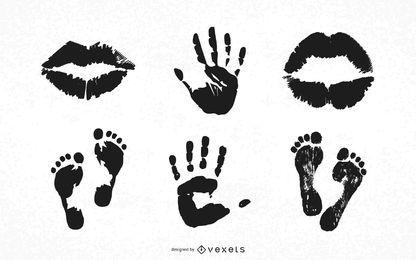 Kostenlose Foothandlips Print-Vektoren