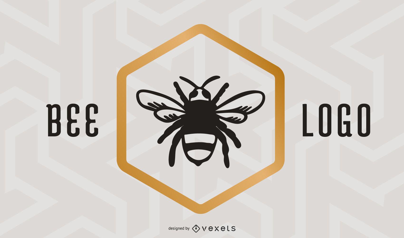Free Bee Logo Black Gold