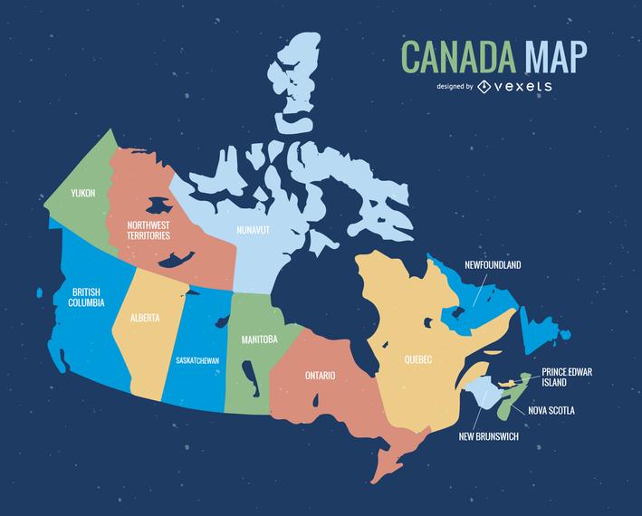 Mapa de Canada Vector
