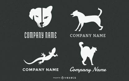 Conjunto de logotipo de animales de mascotas