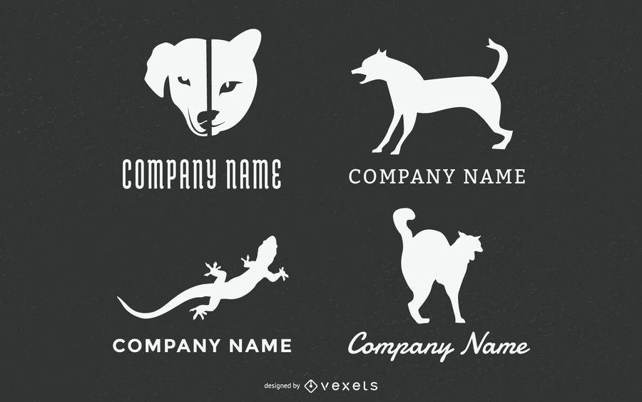 Haustier Tiere Logo Set