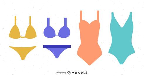 Ilustración vectorial de trajes de baño y bikinis