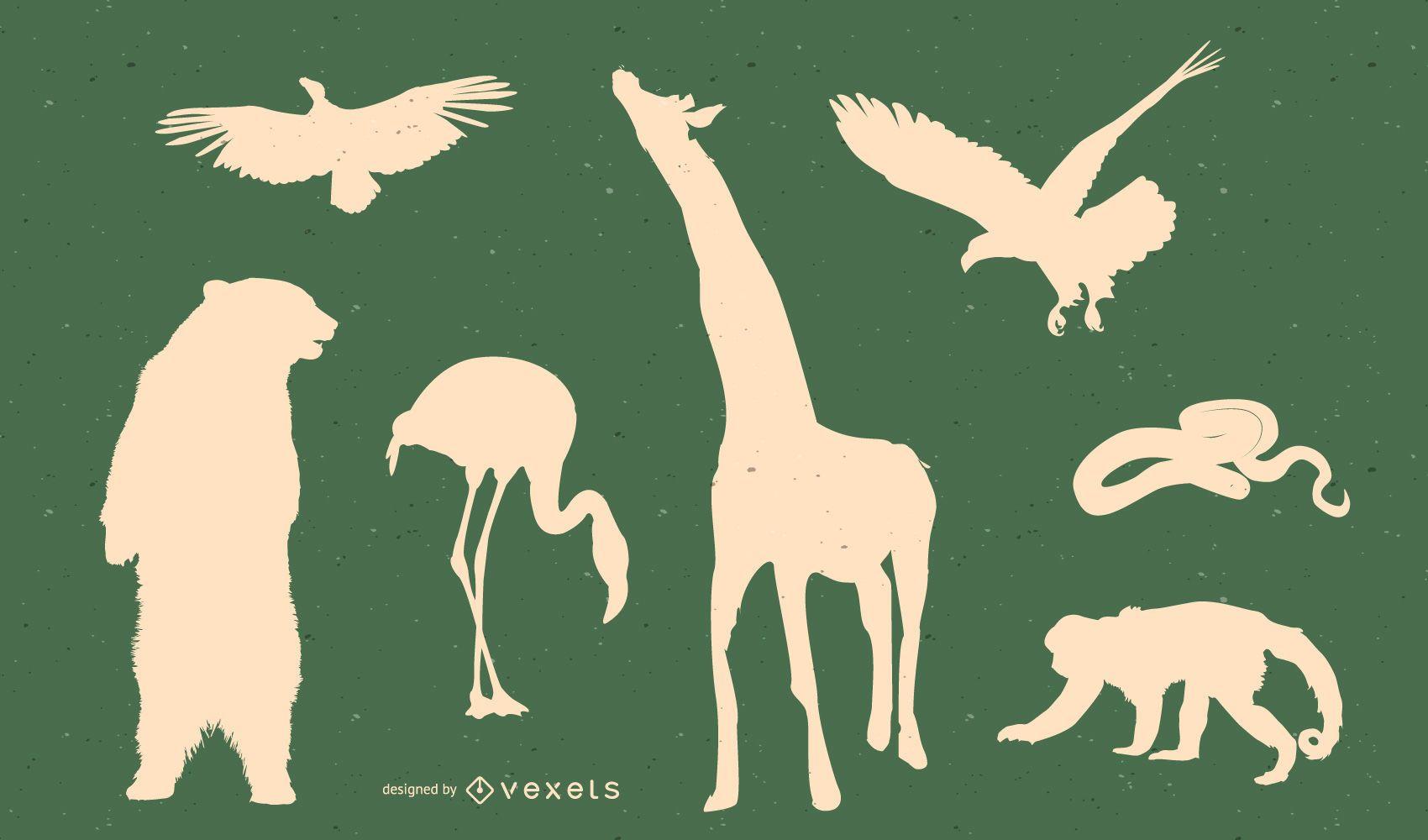 Wildlife silhouette set