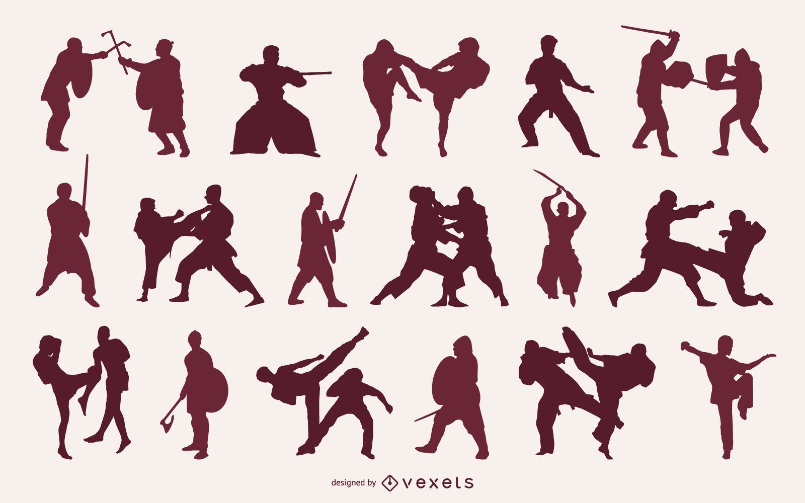 People Fighting Silhouette Pack