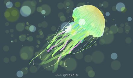 Illustrated jellyfish in green