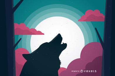 Ilustración de lobo enojado